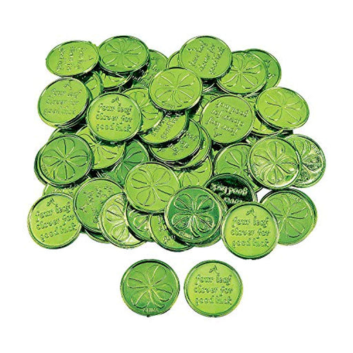 St. Patrick's Day Four-Leaf Clover Good Luck Green Coins for -144 Pieces