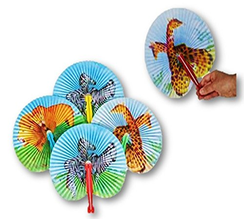 Paper Folding Fan Assortment - 12 Zoo Animal Print Folding Fans - Play Kreative - PlayKreative.com