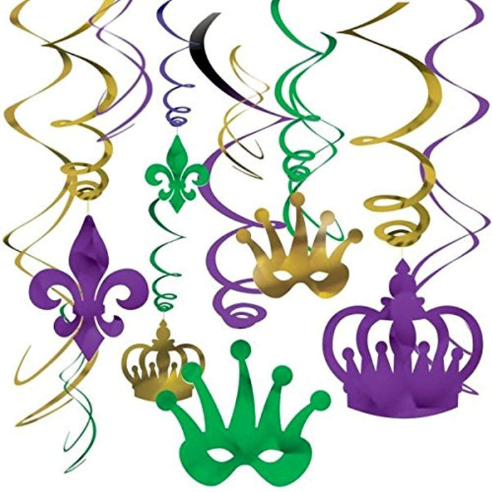 Mardi Gras Hanging Foil Swirls - 12 Pieces