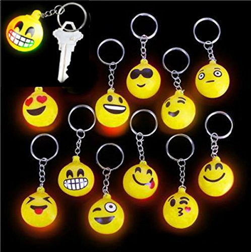 Emoji Flashing Keychains - 12 pack - Play Kreative TM - PlayKreative.com