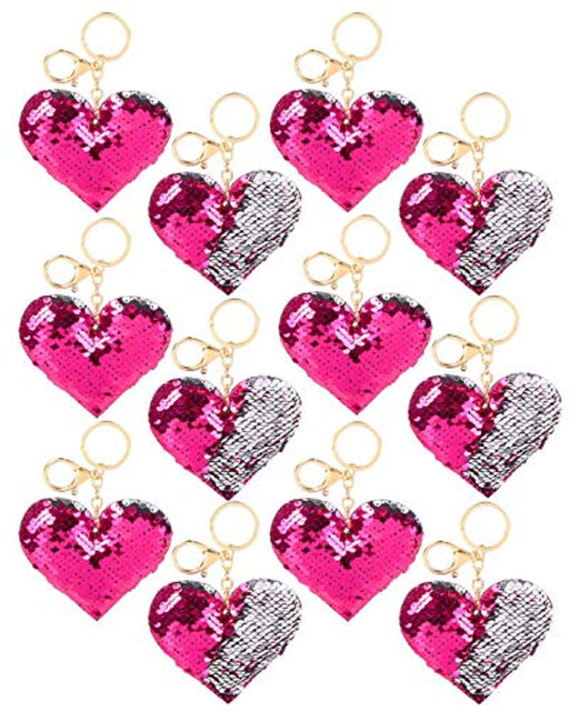 Valentine's Day Flipping Sequins Plush Hearts Key Chains - 12 Pieces