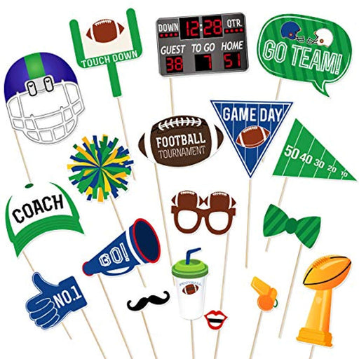 Super Bowl  Football Photo Booth Props - Set of 18