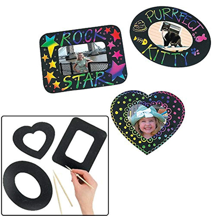 Magic Color Scratch Photo Frame Magnets  - 12 Pieces