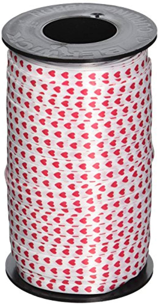 Valentines Red Hearts Printed Curling Ribbon, 3/16-Inch Wide by 500-Yard Spool