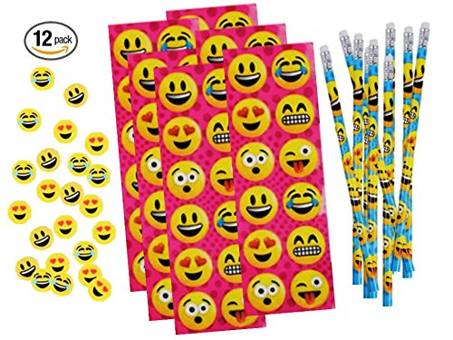 Emoji Stickers, Pencil and Erasers Stationery Sets - Play Kreative TM (EMOJI ) - PlayKreative.com