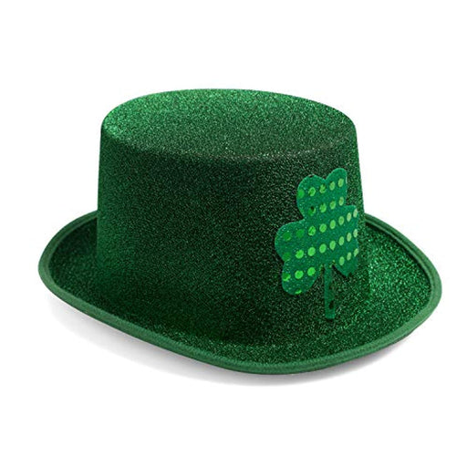St. Patrick's Day Green Glitter Top Hat with Shamrock