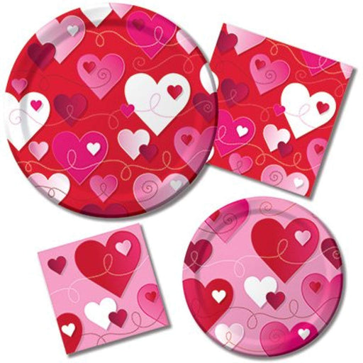 Valentines Hearts & Swirls Plates & Napkins  Set - For 8 Guest