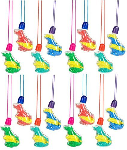 Play Kreative Sand Art Dinosaur Necklaces  - Pack of 12 - PlayKreative.com