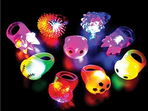 Play Kreative Flashing Light Up Ring Toys - Pack of 48 Blinking bumpy Jelly Ring - PlayKreative.com