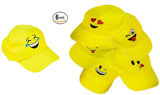 Play Kreative EMOJI Baseball Cap - 6 Yellow Emoticon Hats - PlayKreative.com