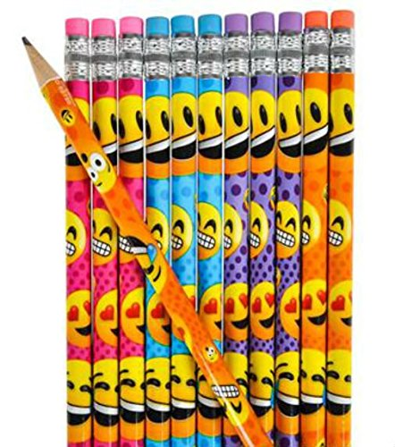 "12 Emoji Wooden Pencil Erasers Emoticon Party Favor 7.5"" - Play Kreative TM (Emo - PlayKreative.com"