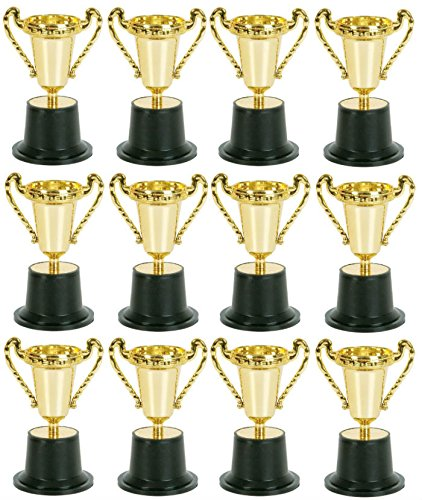 Pack of 12 Kids Plastic Golden Award Trophy - 5 Inch Gold Cup Trophies For Child - PlayKreative.com
