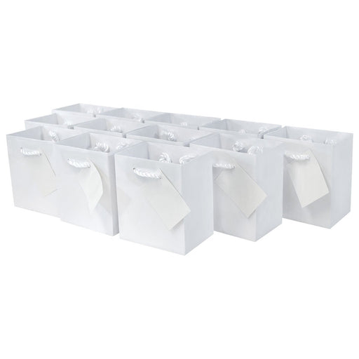 Extra Small White Gift Bags with Handles and Gift Tags - Pack of 12 - PlayKreative.com