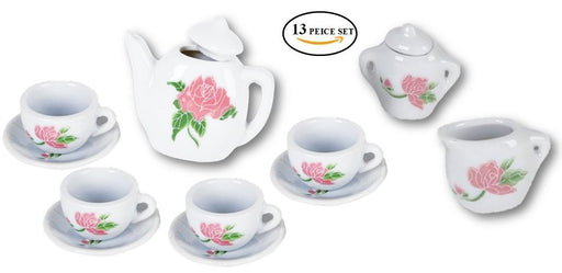 Play Kreative 13 PC Miniature Mini Porcelain Toy Tea Set - Kids Flower Ceramic T - PlayKreative.com