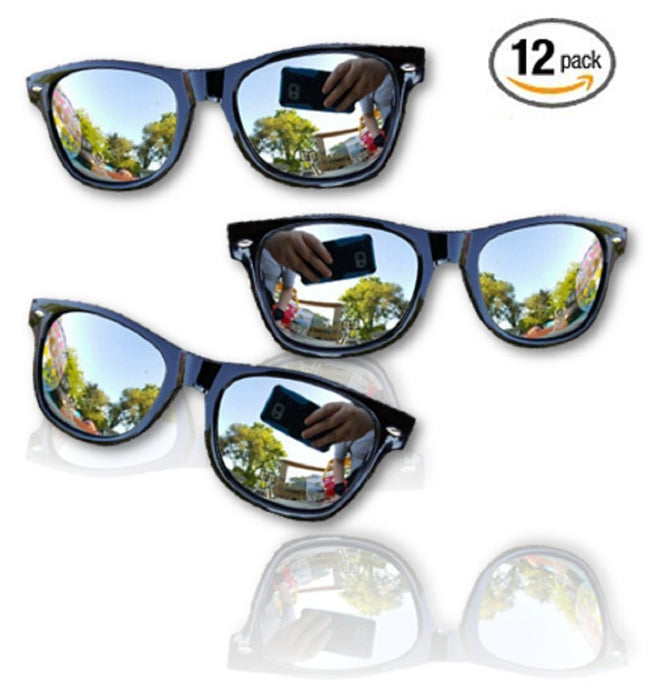 Mirror Lens Sunglasses - 12 Black Kids Sunglasses - Classic kids Retro Sunglasse - PlayKreative.com