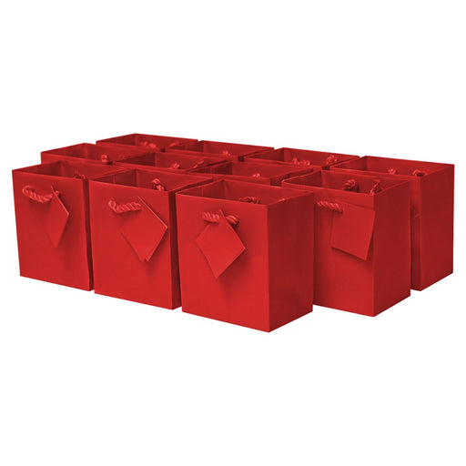 Extra Small Red Gift Bags with Handles and Gift Tags - Pack of 12 - PlayKreative.com
