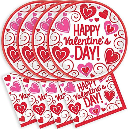 Valentine's Day Napkins And Plates - For 30 Guest