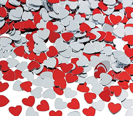 Valentines Day Decorations Metallic Foil Red and Silver Heart Confetti - 2 oz pa