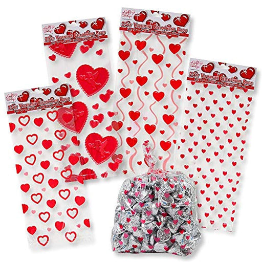 Valentines Day Heart Print Cellophane Bags - 100 Pieces