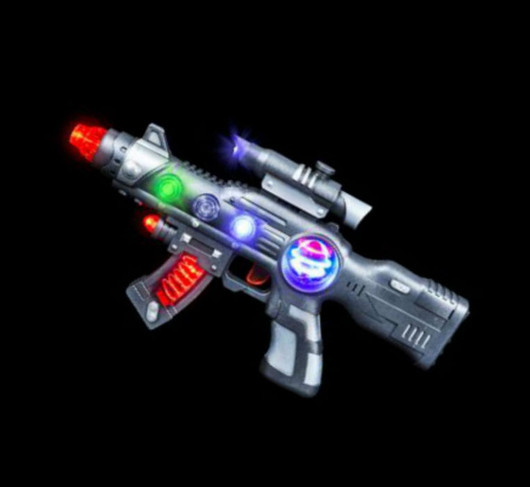 Super Light-Up Space Blaster Gun for Kids with Spinning Lights & Blasting Sounds - PlayKreative.com
