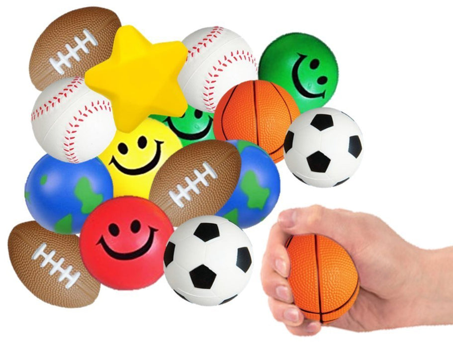 Play Kreative Assorted Squeeze Stress Relief Balls - 25 Pack - Fun for Birthday - PlayKreative.com