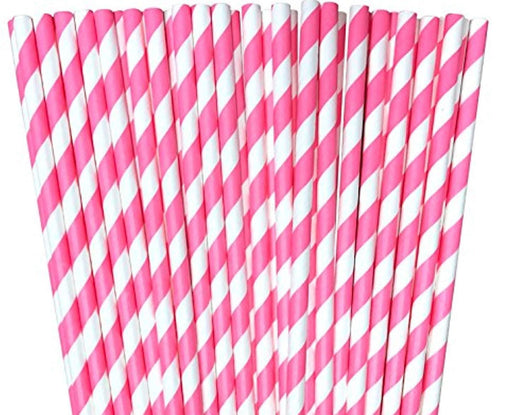 Pink Striped Paper Straws - Pack of 100