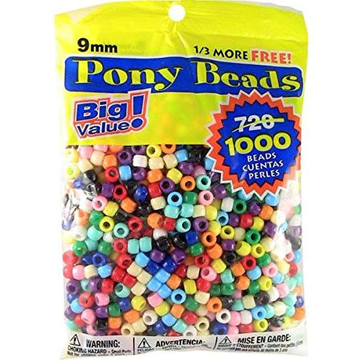 Pony Beads  9mm 720 Pcs in Bag - Choose Color