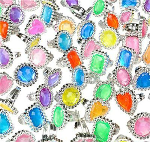 "144 Big Jewel Rings ~ 1"" Plastic ~ Princess Dress-up Diva - Play Kreative TM - PlayKreative.com"