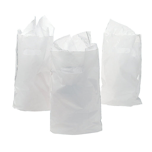 Treat / Goody Plastic Bags ~ Party Favor (Package of 50) (White) - PlayKreative.com