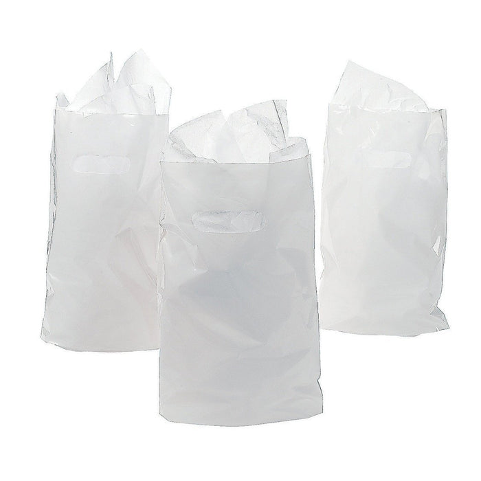 Play Kreative White Treat / Goody Plastic Bags ~ Party Favor - Pack of 50 - PlayKreative.com