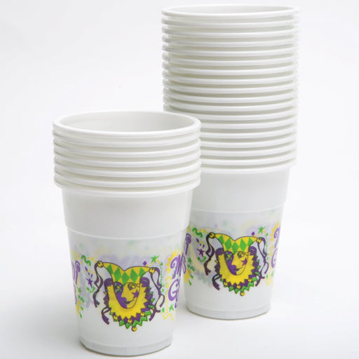 Mardi Gras Disposable Cups - 50 Pieces