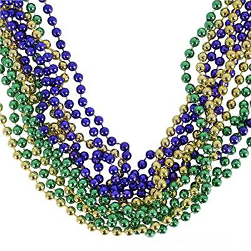 Play Kreative Green/Voilet/Yellow Metallic Bead Necklaces -12 pk - PlayKreative.com