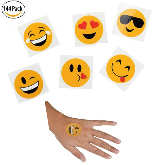 Play Kreative Emoji Stick on Tattoo - 144 Pack Emoticon Temporary Party Tattoos - PlayKreative.com
