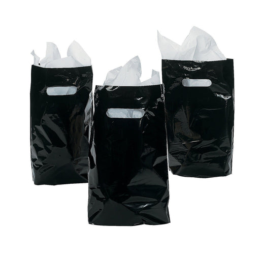 Play Kreative Black Treat / Goody Plastic Bags ~ Party Favor  - Pack of 50 - PlayKreative.com