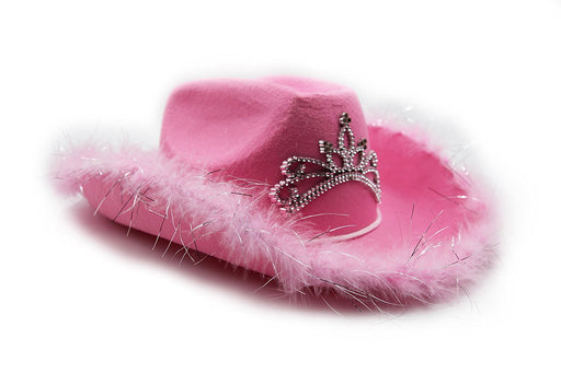 Play Kreative Pink Felt Feather Blinking Tiara Cowboy Cowgirl Dress Up Hat - PlayKreative.com