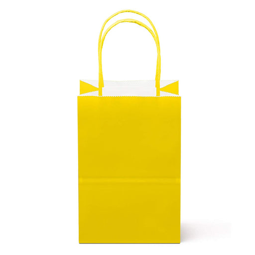 Small Yellow Paper Gift Bags with Handles  - Pack of 12