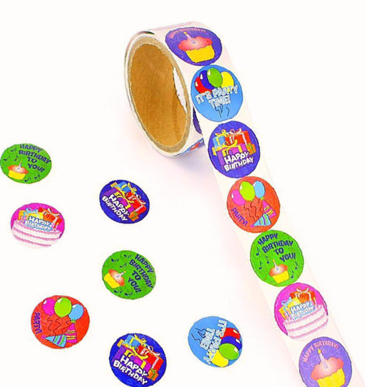 100 Happy Birthday Roll Stickers - Kids Assorted Birthday Party Stickers - Play - PlayKreative.com