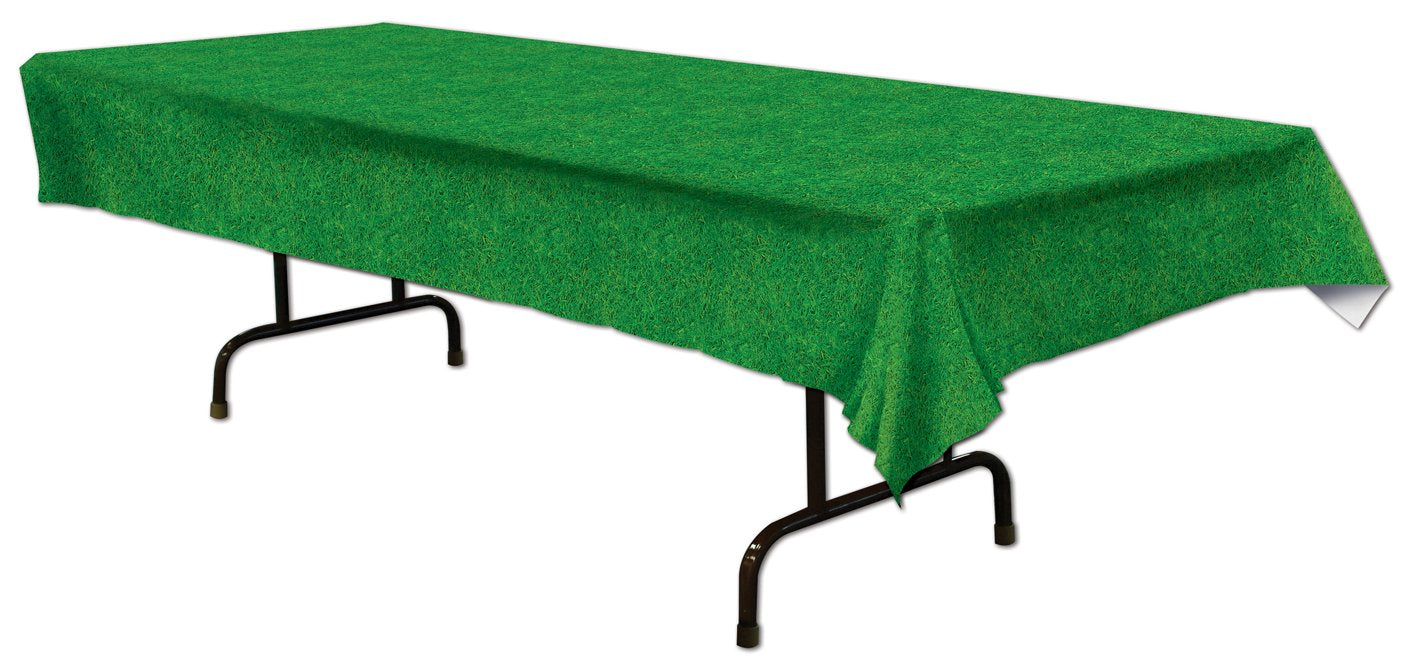 "Green Grass Plastic Table Covers -  54"" x 108"""