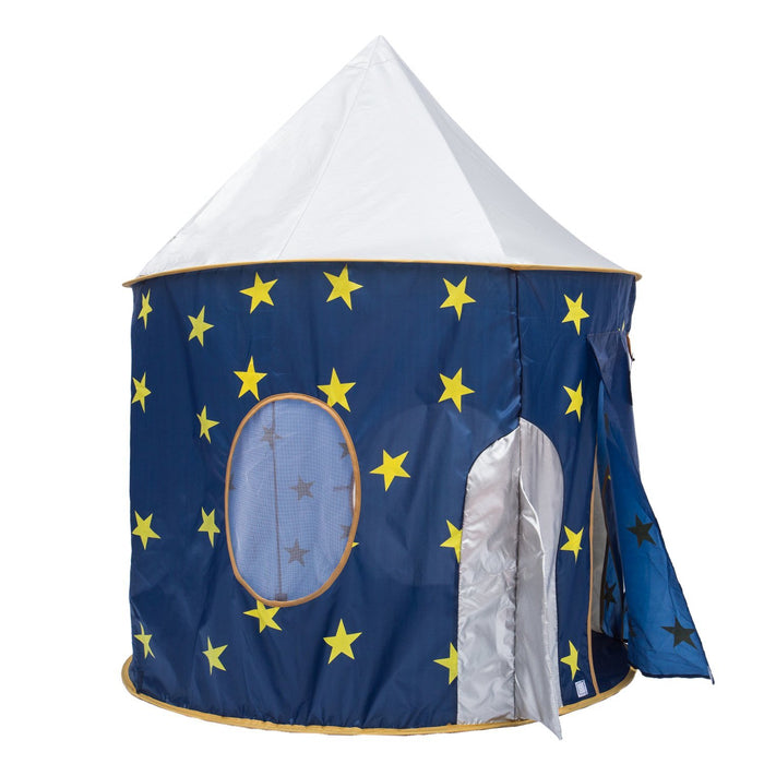 Play Kreative Space Rocketship PlayTent with Crawling Tunnel – Kids Blue pop up - PlayKreative.com