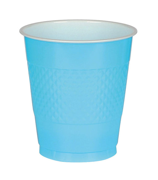 Caribbean Blue Plastic Cups  - 50 Pieces - 16 oz