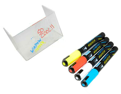 Colored Washable Glass & Window Markers - 4 Pack Neon Fluorescent Colors Washabl - PlayKreative.com