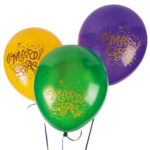 Mardi Gras Balloons  -  Pack of 24