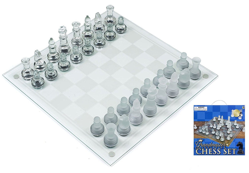 "Play Kreative Glass Chess Games Set - 14"" Chess Game Great Present for Children - PlayKreative.com"