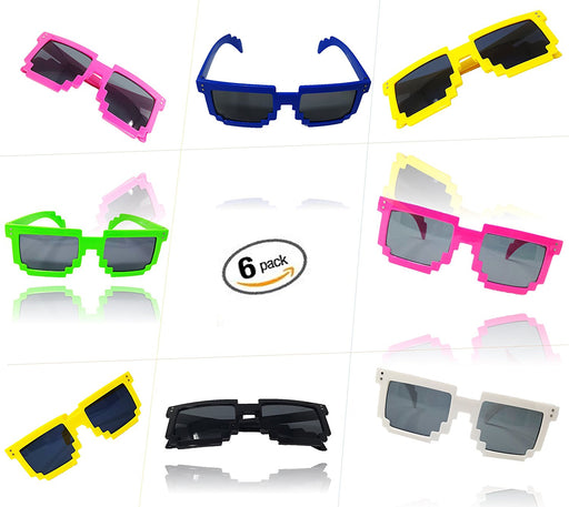 Play Kreative 6 Colorful Pixel BLOCK 8 NERD GEEK Video Gamer Party Sunglasses - PlayKreative.com