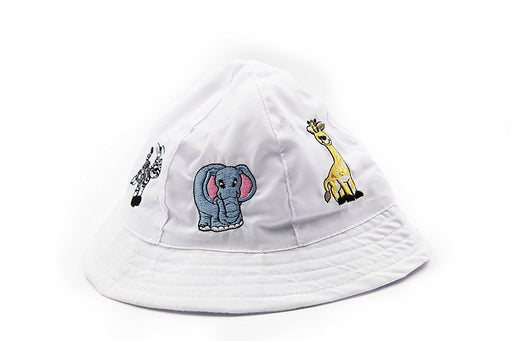 Sun Protection - Child Safari, Animal, Sun Bucket Hat. (White) - Play Kreative TM - PlayKreative.com