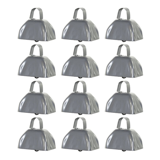 Silver Metal Cowbell Noisemakers - School Cowbells Set 12 Pack - Play Kreative - PlayKreative.com