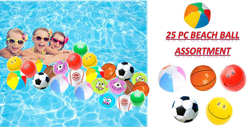 "Play Kreative Assorted Mini Beach Balls - 25 Pack - 6"" Inflatable Pool Toys Beac - PlayKreative.com"