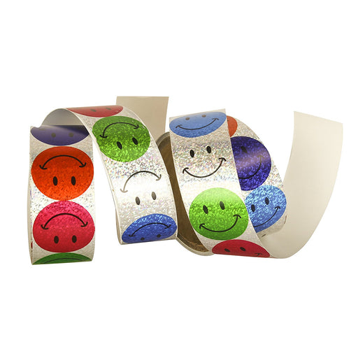 200 Laser Smiley Face Roll Stickers - Play Kreative TM - PlayKreative.com