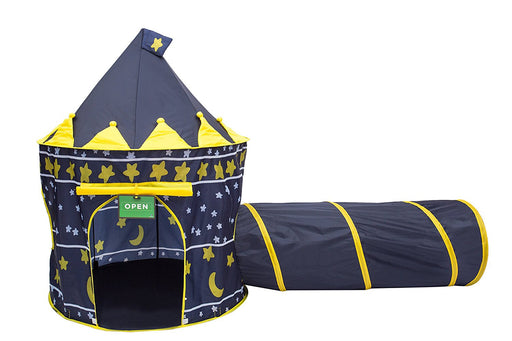 Play Kreative Moons and Stars Castle Tent with Crawling Tunnel and Carry Case. Foldable pop up Boys Castle Playhouse with Yellow Stars and Moons for Indoor/Outdoor Fun Activities. Great Birthday Gift - PlayKreative.com