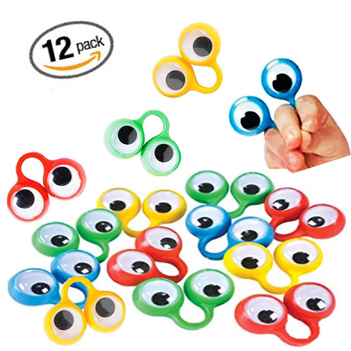 "Play Kreative Children Eye Finger Puppets - 12 Pack - 2"" Plastic Eye Peeper Ring - PlayKreative.com"